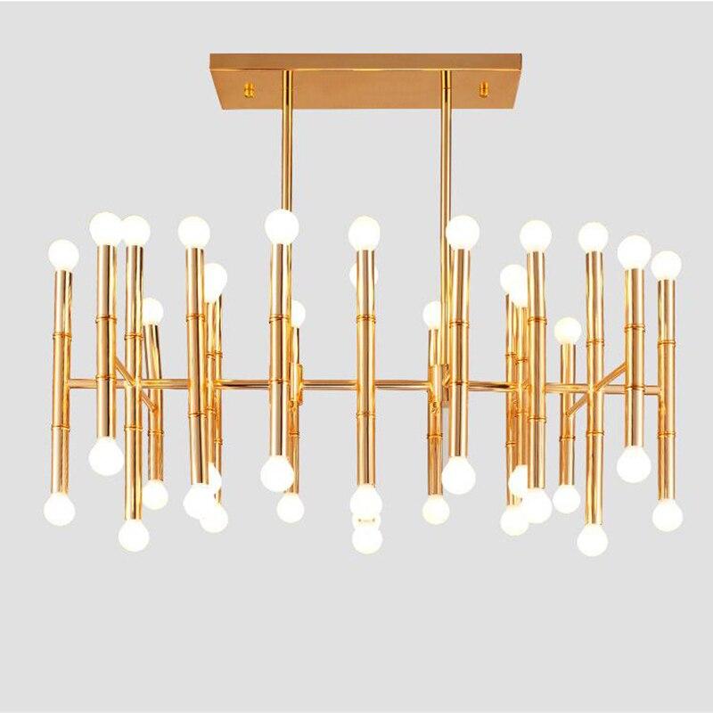 الحديثة LED نجفة ذهبية الإضاءة فندق المطبخ جزيرة الثريات Hanglamp الأسود ارتفع الذهب اللون مستطيل ثريا تركب بالسقف