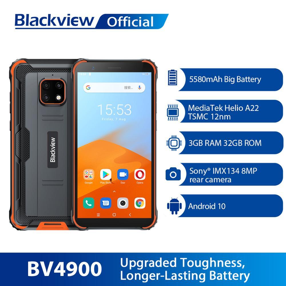 Blackview-هاتف ذكي ، BV4900 ، 5580 بوصة ، مقاوم للماء ، متين ، هاتف ذكي ، Android 10 ، 3GB 32GB ، IP68 ، 5.7 mAh ، NFC