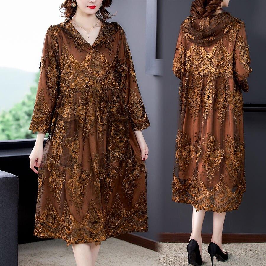 Женский тренчкот с капюшоном и кружевом, коричневое Свободное пальто составного кроя с вышивкой и высокой талией, Длинные Пальто 4xl 5xl для же...