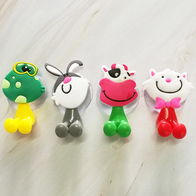 1PC Wall Mounted Heavy Duty Suction Cup Antibacterial Cartoon animal Toothbrush Holder Hooks Set Toothpaste Suction Cup Holder