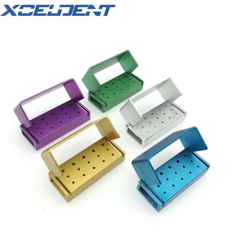 5 uds de aluminio Dental Bur bloque de soporte para fresas de desinfección de Autoclave 10 agujeros de alta velocidad para fresas y 5 agujeros para baja velocidad fresas