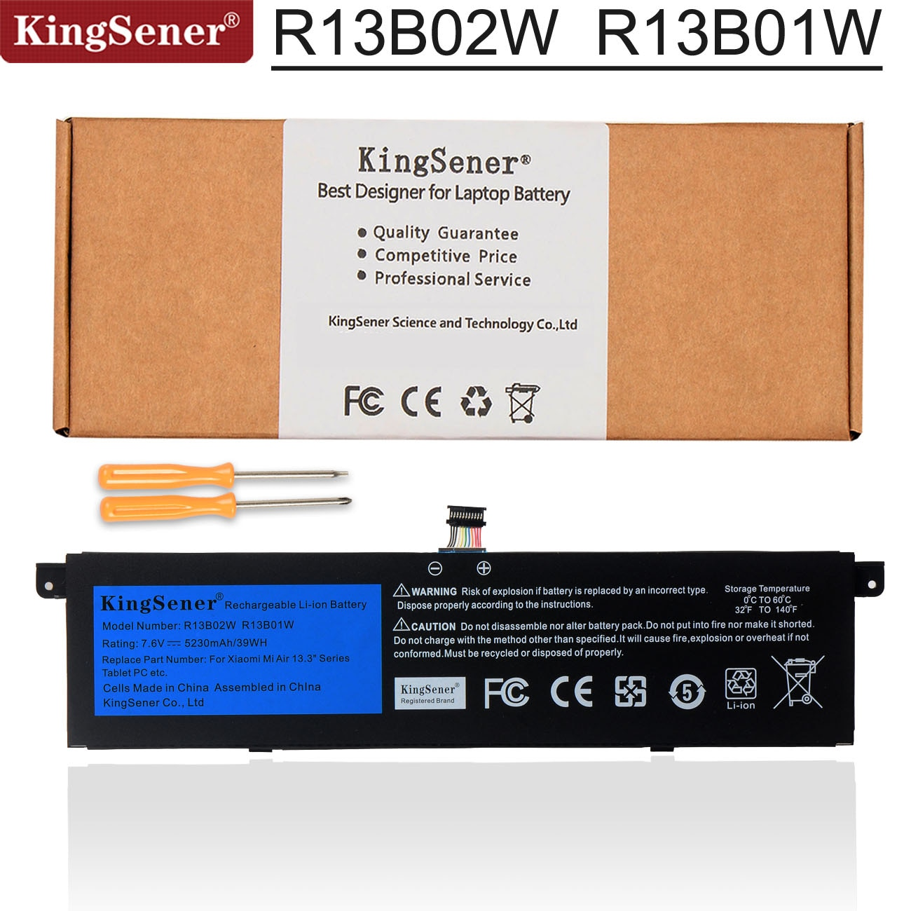 Kingsener-بطارية الكمبيوتر المحمول 7.6 فولت ، 5230 مللي أمبير ، R13B01W R13B02W ، لسلسلة Xiaomi Mi Air ، 13.3 بوصة ، 39WH