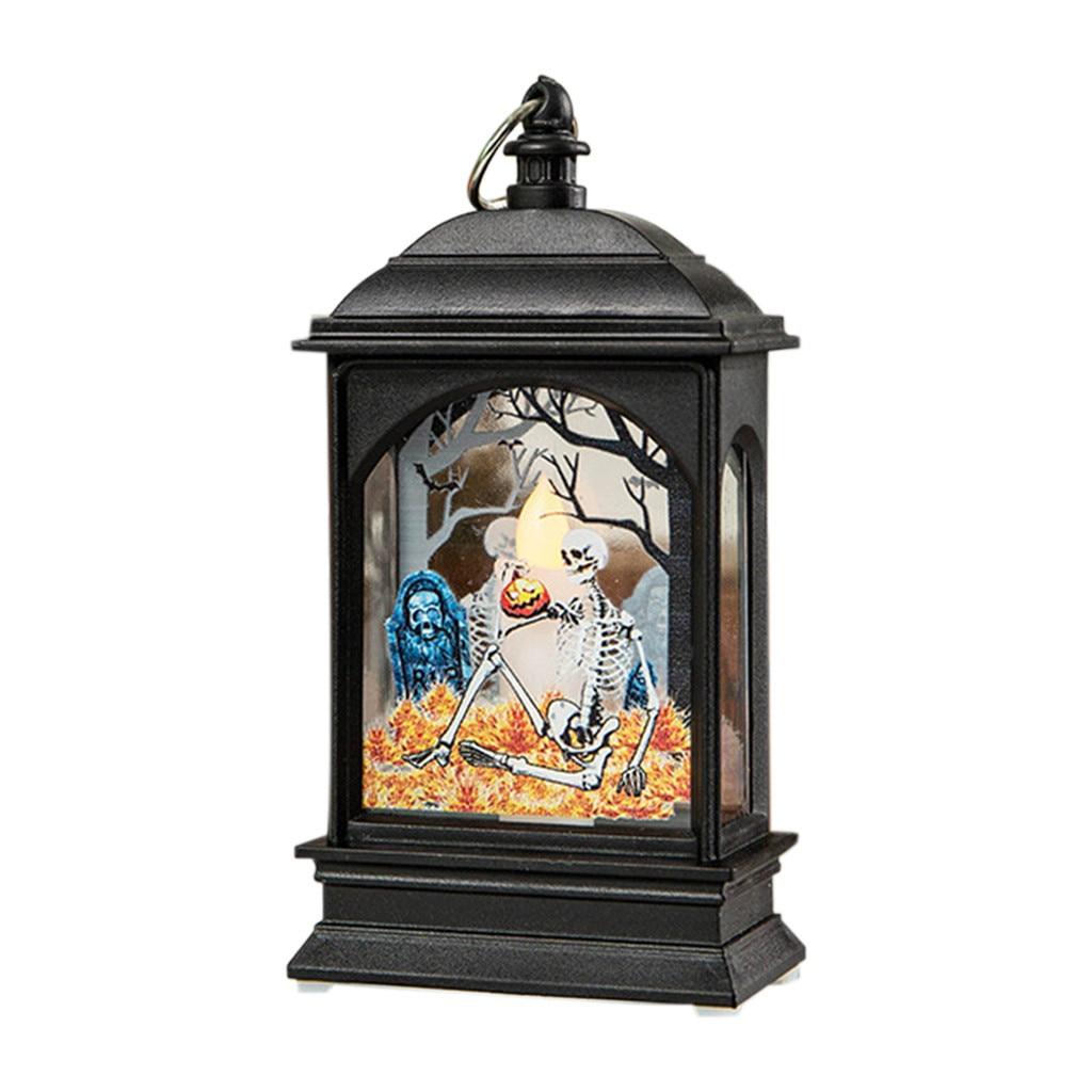 C Castelo Da Bruxa da Abóbora de Halloween Levou Lanterna Do Vintage Decoração Conduziu a Lâmpada de Luz festa de carnaval Do Partido Decoração Pendurado Portátil CA29