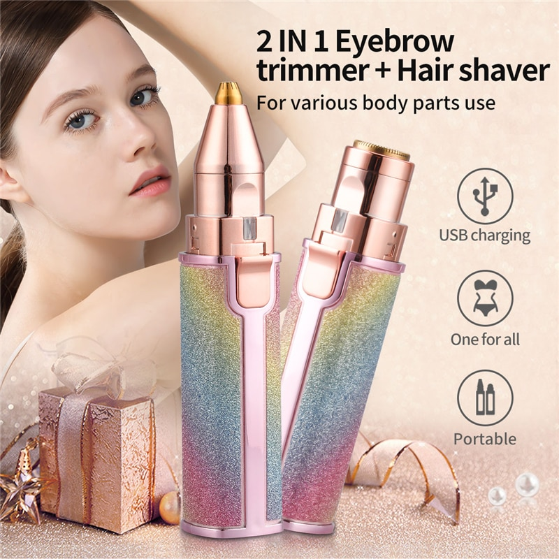 2 In 1 Electric Eyebrow Trimmer Makeup Painless Eye Brow Epilator Mini Shaver Razors Women Portable