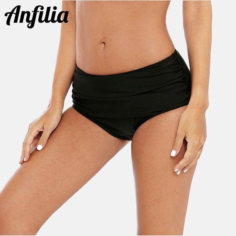 Anfilia Mulheres Ban Cor Sólida Sunga Bikini Bottom Swimwear Ruched Swimwear Cuecas Natação Sensuais de Fundo
