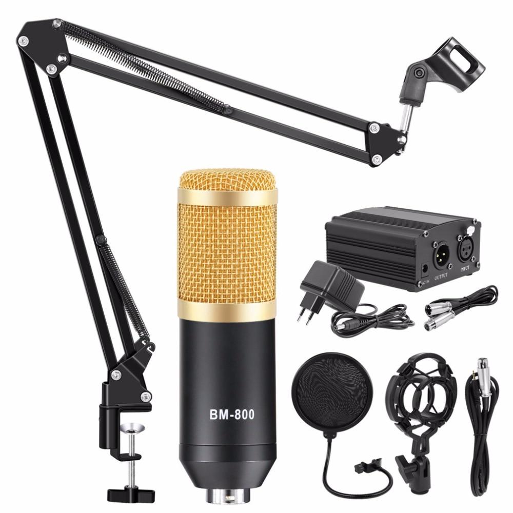 микрофон bm 800 Condenser Microphone Studio Recording Kits bm800 Karaoke Microphone for Computer bm-800 Mic Stand Phantom Power