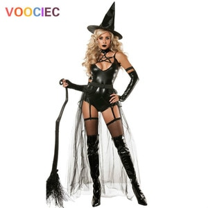 Sexy conjoined devil Witch Dress, lacquer leather dress, European and American Adult Halloween costume, wizard costume, role pla