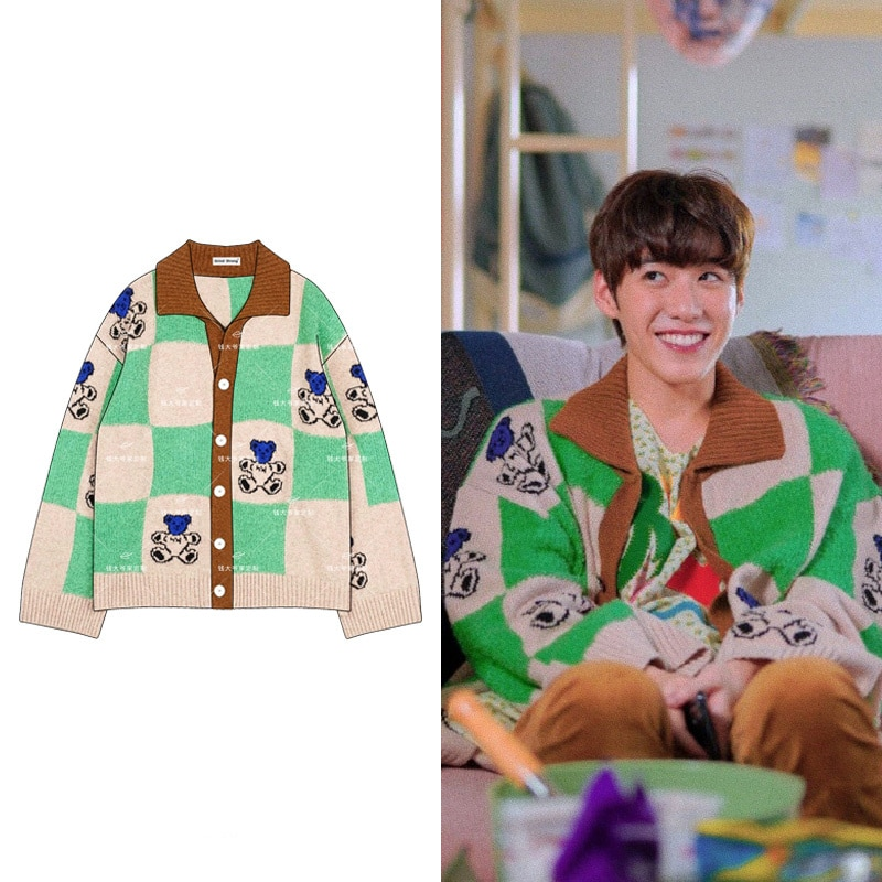 BKPP Sweatshirt Japanese Style Casual Spring Autumn Cardigan Korean INS Oversized Button Color Matching Bear Jacket for Unisex