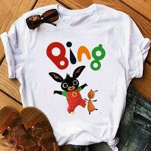Nieuwe Zomer Stijl Movie Bing Konijnen Animal Print T-shirt Grafische Tees Vrouwen Grappige T-shirt Femme Koreaanse Kleding T-shirt Streetwear