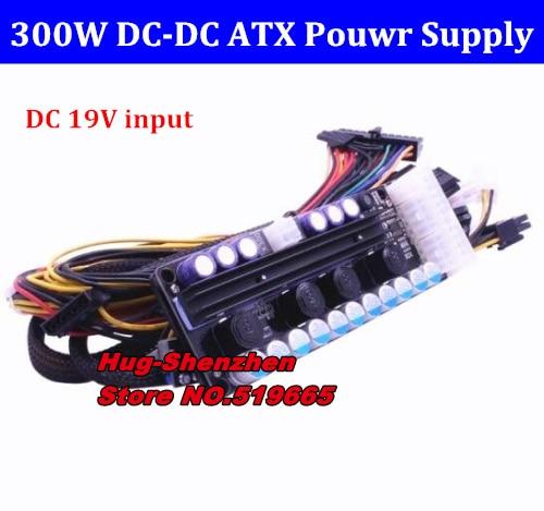 Entrada ancha de 19V CC (16-24v), salida de 300w DC-DC fuente de alimentación ATX (VR Ready Pico PSU) MINI ITX DC al coche ATX PC módulo de alimentación GTX208