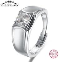 100 925 sterling silver open adjustable ring moissanite finger rings for men silver fine jewelry wedding rings