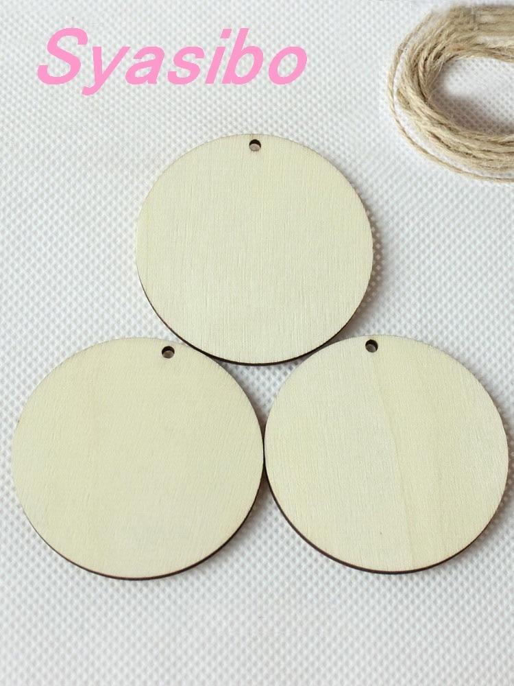63mm/70mm blanc en bois cercle porte-clés rond en bois disques avec trou faveur Tags-CT1202 K/L
