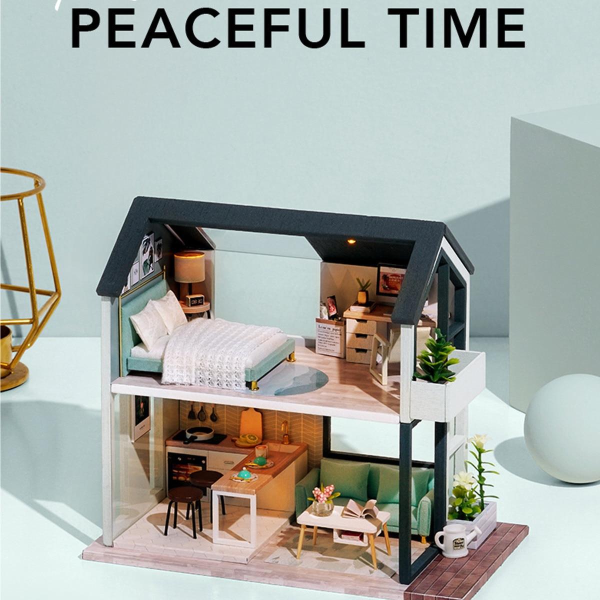 DIY Dollhouse Handmade 3D Miniature Nordic  LED Light Assembly Making Cute Model Furniture Kit DIY Adult Kids Gift