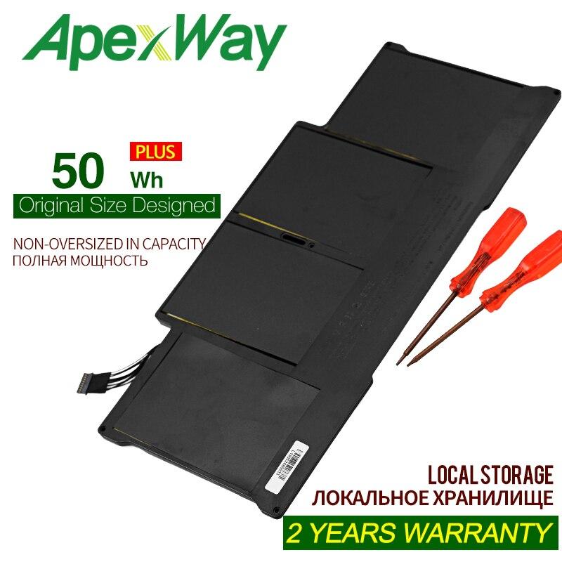 "Apexway 7,4 В 50Wh Новая батарея для ноутбука Apple MacBook Air 13 ""A1466 A1369 A1405 A1496 A1377 батарея с отвертками"