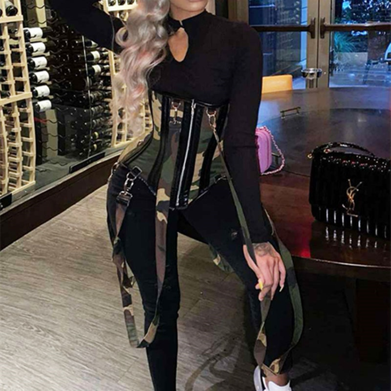 Fashion Women 2 Two Piece Set Patchwork Camouflaged Corset and Long Jumpsuit Outfits Streetwear Carg