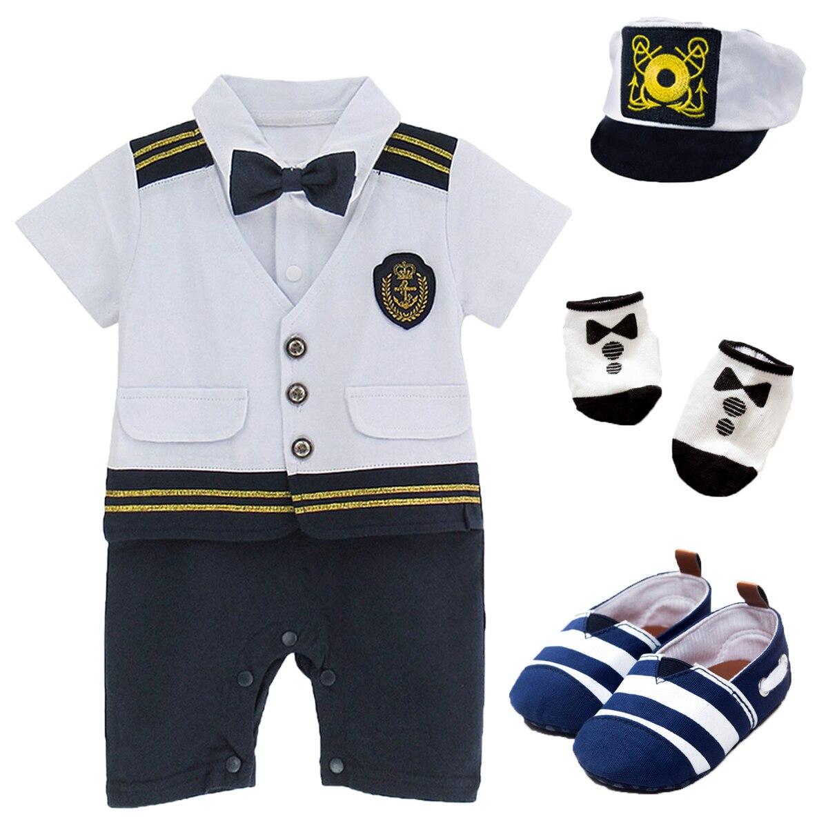 Mono de capitán vestuario ropa infantil para bebés y niños, traje de marinero, traje, sombrero, calcetines, zapatos, 4 Uds.
