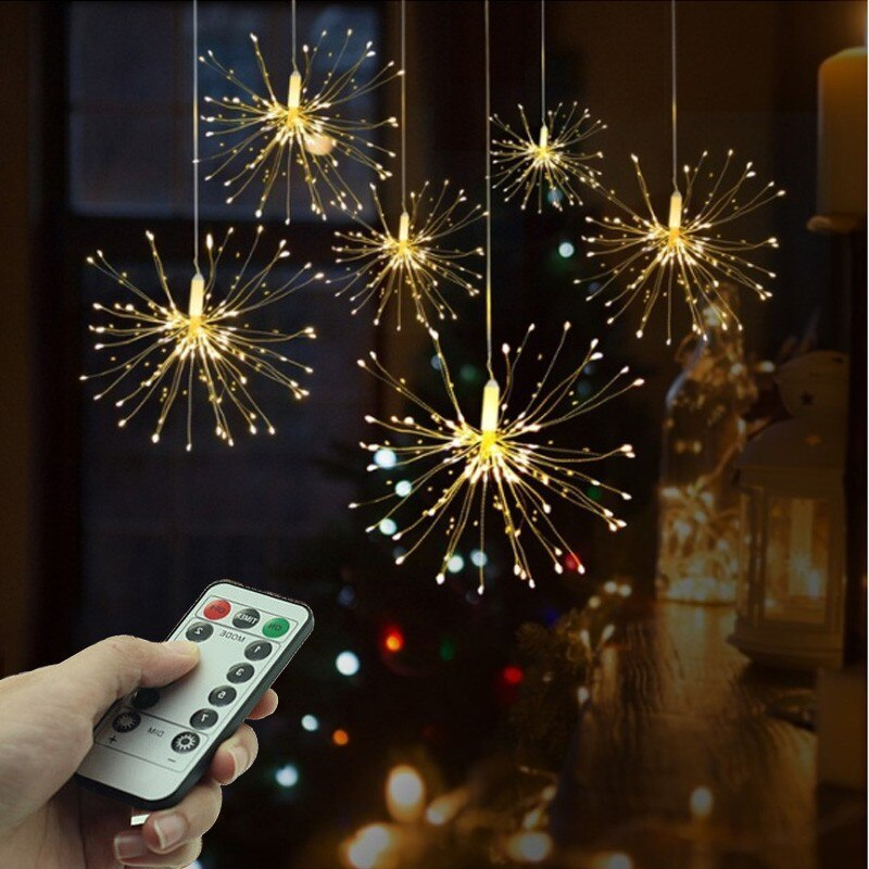 Night light LED Fireworks dandelion firefly light colorful,warm light Remote lamp;Outdoor,interior decoration star light