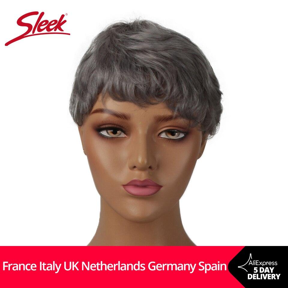Élégant court cheveux humains perruques Pixie Cut perruque 613 Blonde perruques 100% Remy brésilien Har vague naturelle perruques courtes gris Orange cheveux perruques