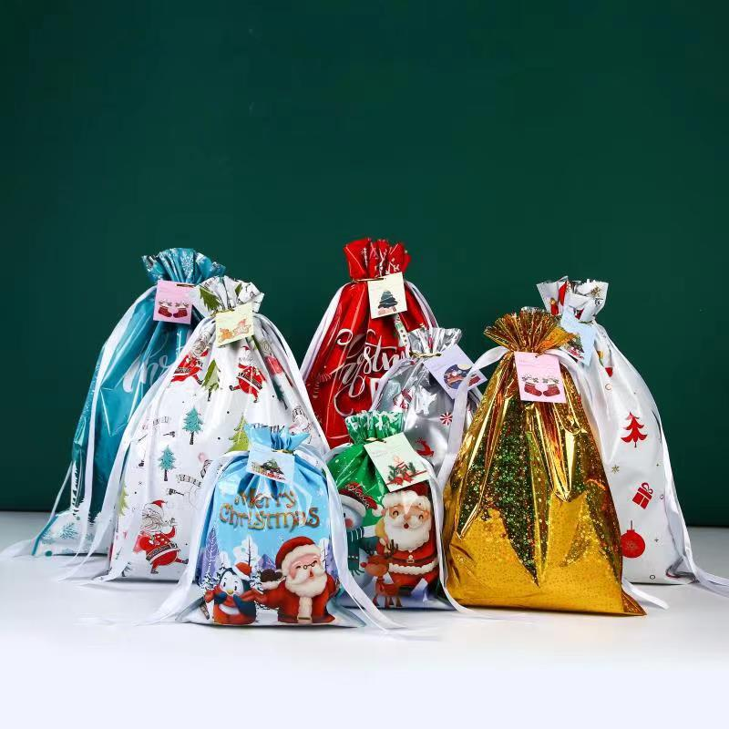 5 Pcs Santa Claus Christmas Tree Elk Gift Bag  Greeting Card Christmas Gift Candy Biscuit Packaging