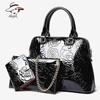 High Quality Luxury Patent Leather Women Handbags Floral Printing 3PCS Set Composite Messenger Bag Shoulder Tote+Purse Clutch
