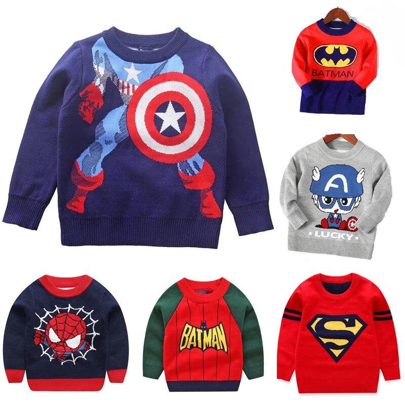 Los nuevos niños suéter de punto de niños primavera otoño superhéroe de dibujos animados Camiseta de manga larga bebé niño Jersey Primer ropa 2-7 años
