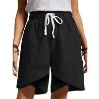 cotton flax durable machine wash summer shorts lightweight women shorts elastic for home
