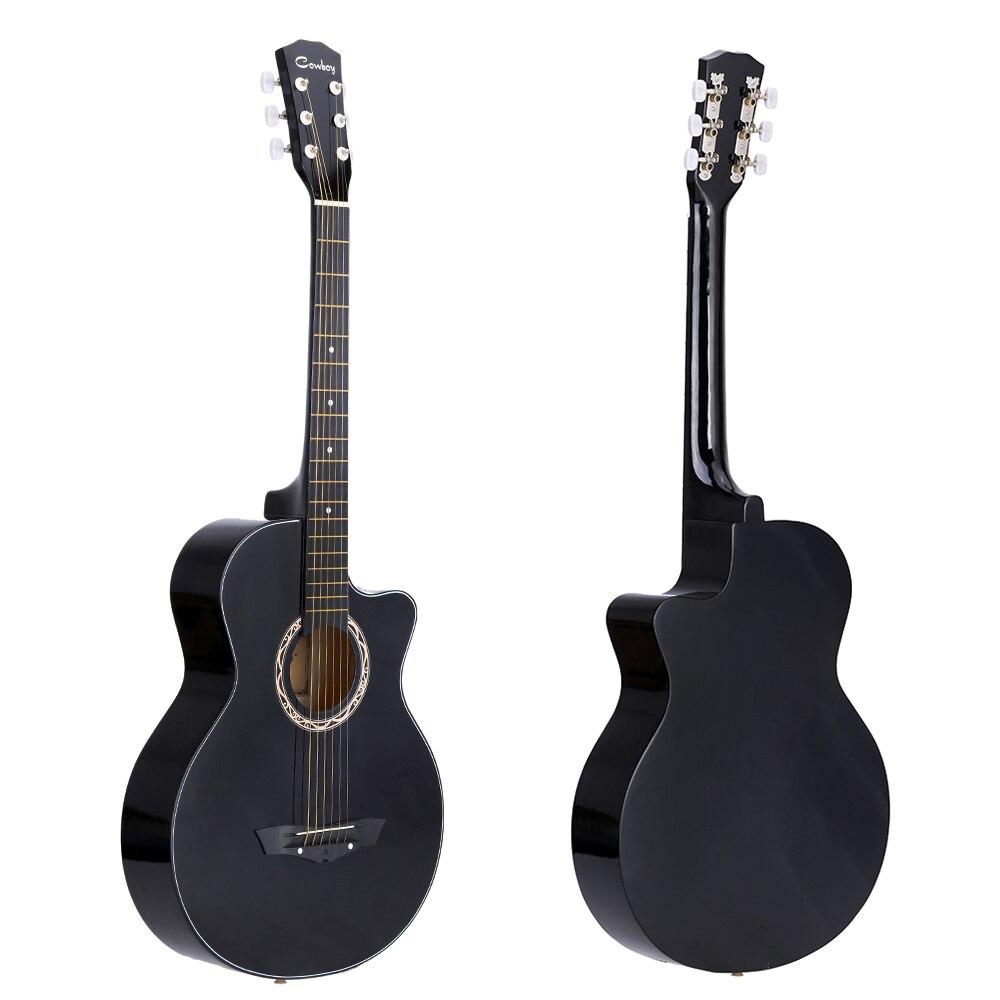 Guitarra de 38 pulgadas de alta calidad, Guitarra folclórica acústica de 38 pulgadas, Guitarra de tilo de 6 cuerdas, regalo para estudiantes, principiante Negro Azul