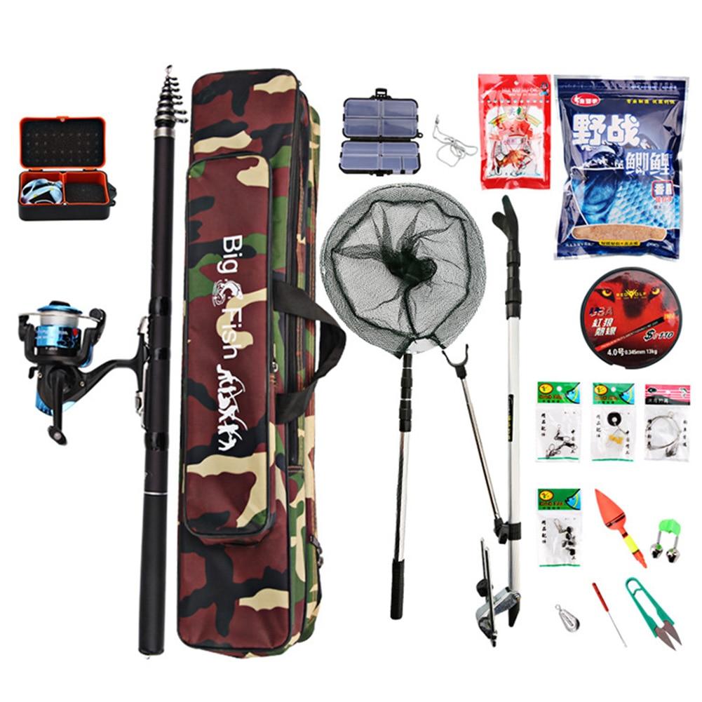 Kit de vara de pesca telescópica, vara de pesca, carretel, rede portátil para compras no mar, lago