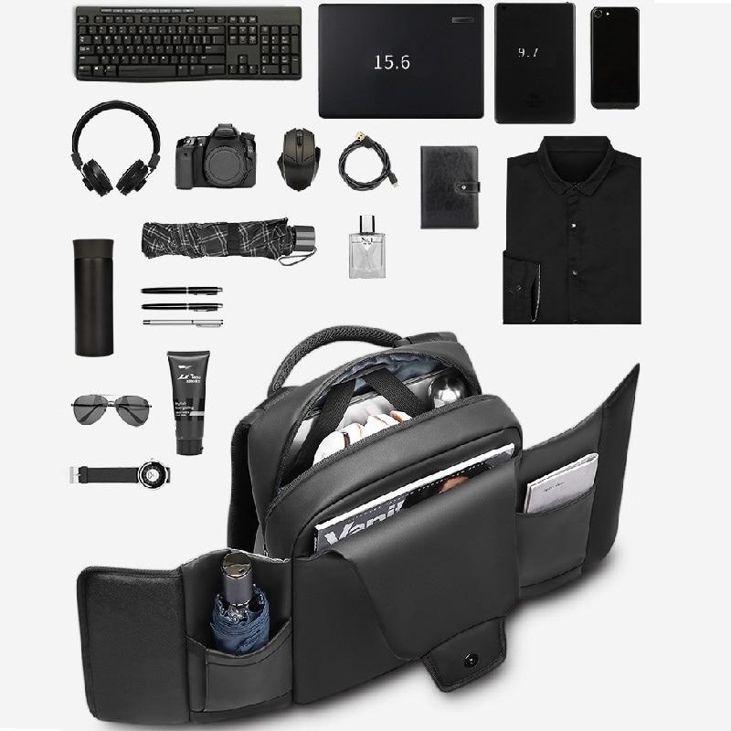 Mochila para ordenador portátil tagdot, impermeable, mochila antirrobo de PVC de alta densidad de 15,6 pulgadas para hombre, mochila de viaje de negocios, USB 2019
