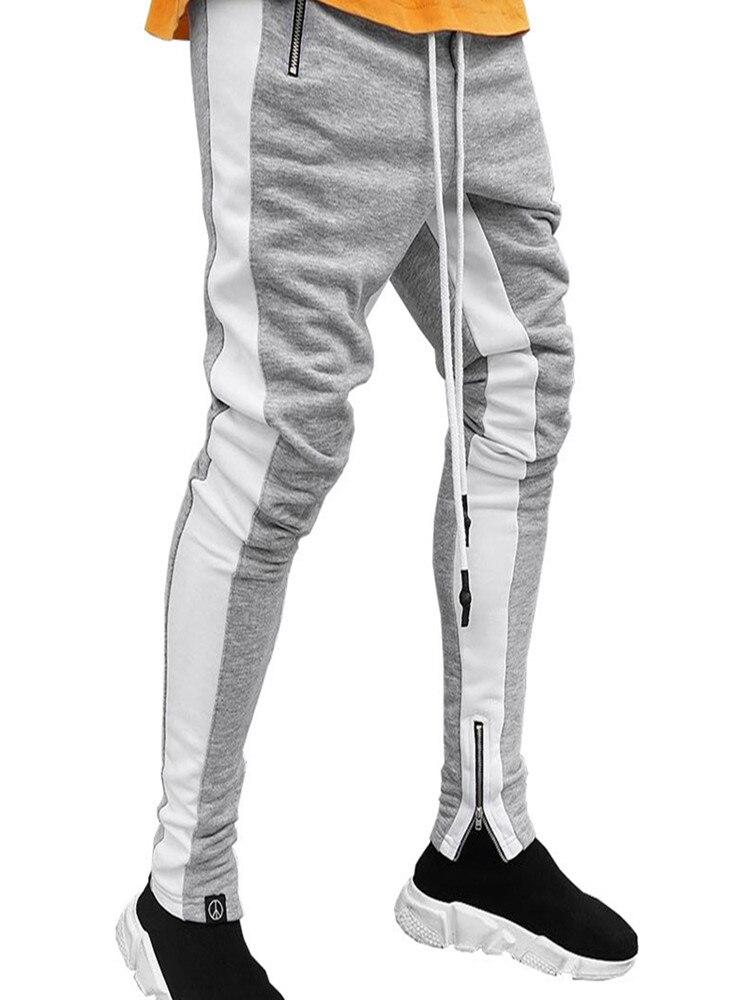 Спортивные штаны для бодибилдинга, спортивные штаны, штаны для фитнеса, Осенние штаны для бега, мужские полосатые спортивные брюки-карандаш...
