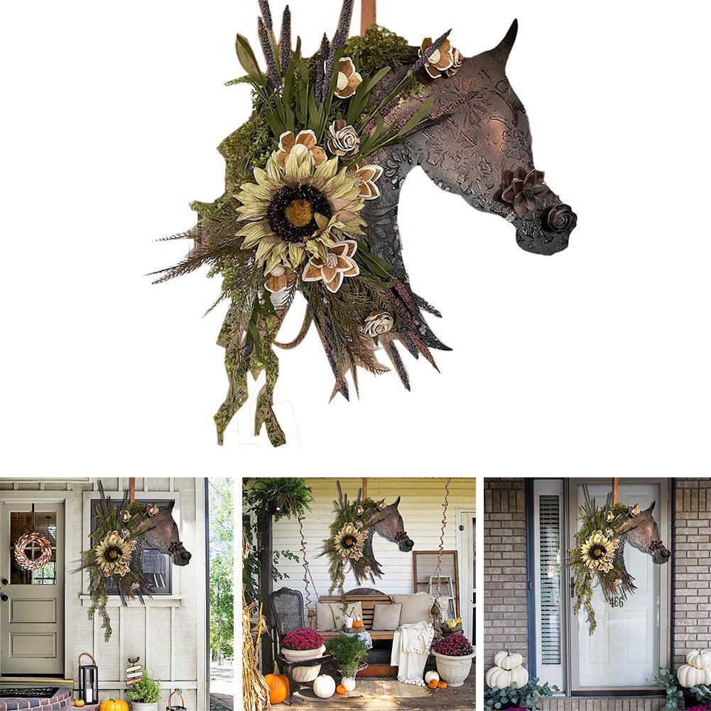 Autumn Horse Head House Number Hanging Listing Horse Head Wooden House Decoration Exquisite Ornaments Party Door Decoration