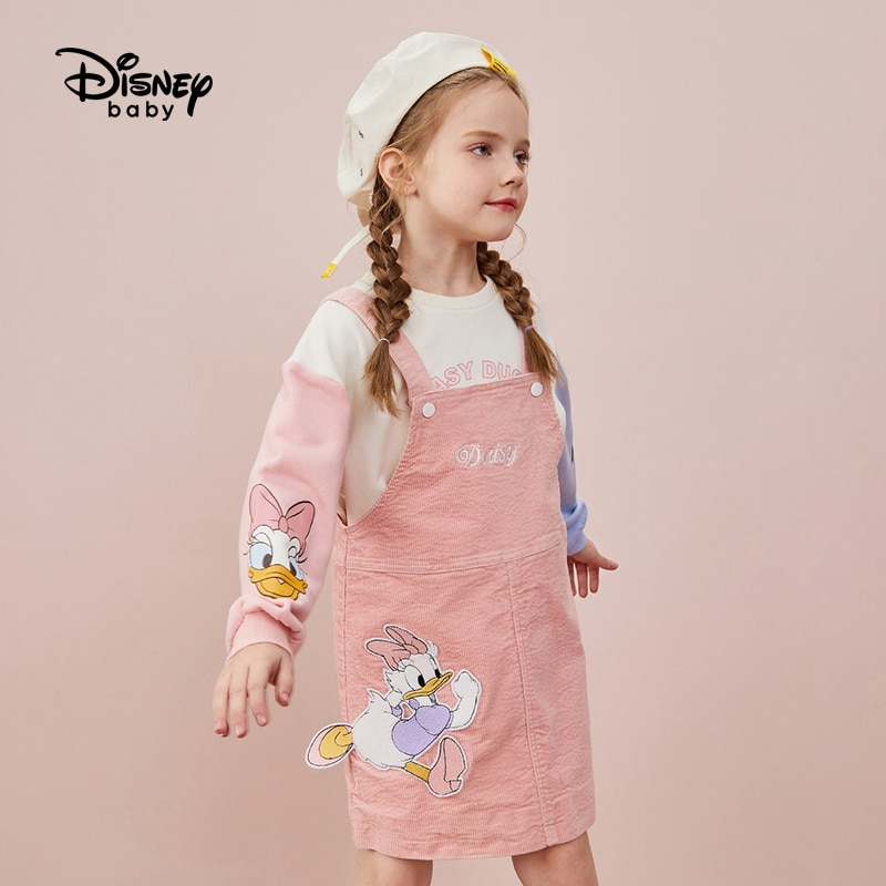 Disney Girls' Dress Spring and Autumn Thin 2021 New Suspender Dress Fashion Baby All-Match Princess Dress Cartoon