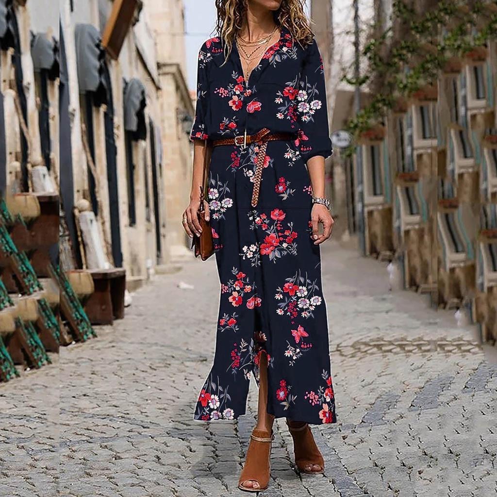 Europe et états-unis automne et hiver imprimé col en v taille haute robe maxi robes pour femmes vestido largo verano muj #25