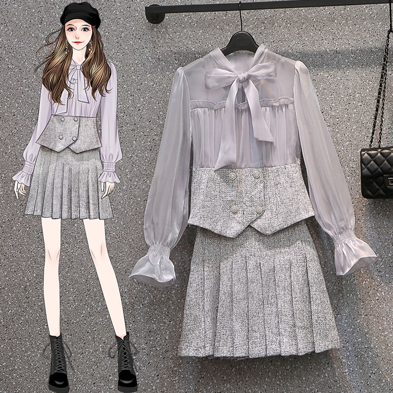 S-4XL Large Size Autumn Bow Collar Organza Patchwork Button Deco See Through Shirt Suits + Woolel Pleated Skirts Two Piece Set