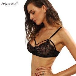 Missomo Sexy Perspectiva Ultra-fina Calcinha de Renda Preta
