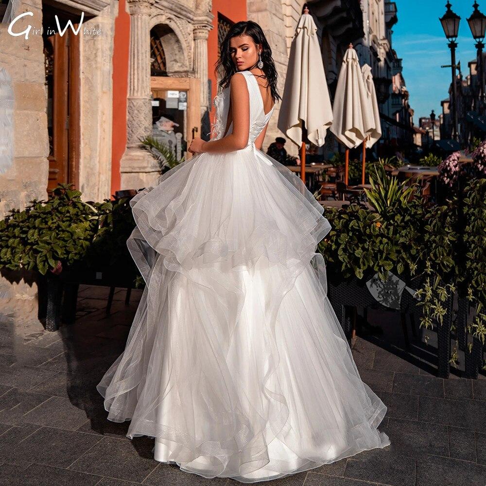 Vestidos De Novia Luxury Feather Ball Gown Wedding Dress Tiered Tulle Tank Sleeve Bridal Robe Dress For Weddding frilled sleeve brush stroke grid tiered dress