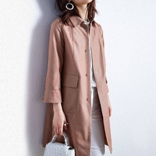 Trench Coat Women 2021 Spring And Autumn New Elegant Temperament Mid-length Windbreaker Cropped Slee