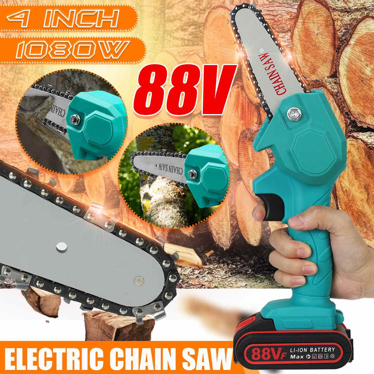 88V 1080W 4 hüvelykes újratölthető mini elektromos láncfűrész 2 akkumulátoros fafeldolgozó kerttel és fakitermelő szerszámmal