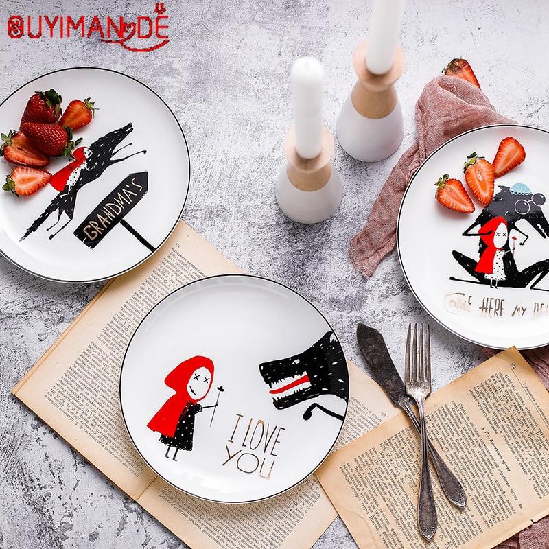 Plato de desayuno de dibujos animados hueso China borde negro plato de carne occidental plato de postre creativo Caperucita Roja plato de cena