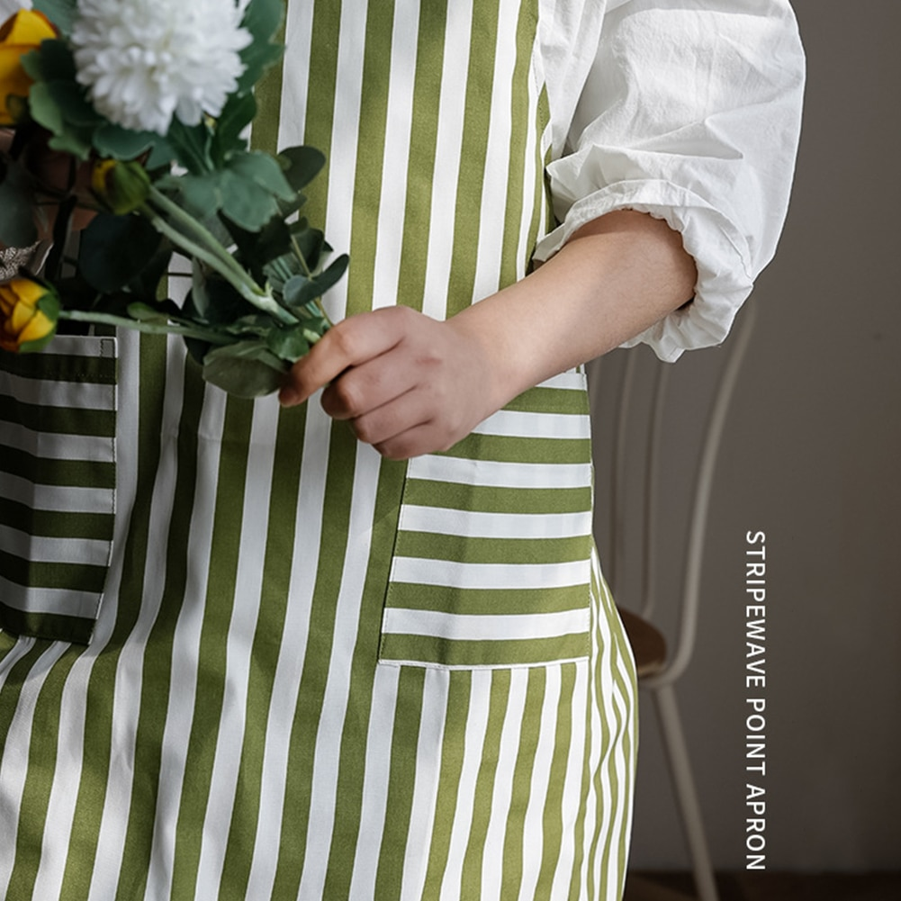 Fashion Kitchen Apron Stripe Wave Point Apron Cooking Baking and Gardening Cotton Cotton Apron with 2 Pockets for Women Girls new cotton aprons фартук canvas pockets baking chefs kitchen cooking apron фартук кухонный chefs with hat household merchandises