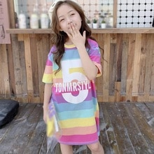 Froomer Princess Girls Dress Fashion Summer Rainbow Print Children Long Sleeve Cartoon Baby Girl Cot