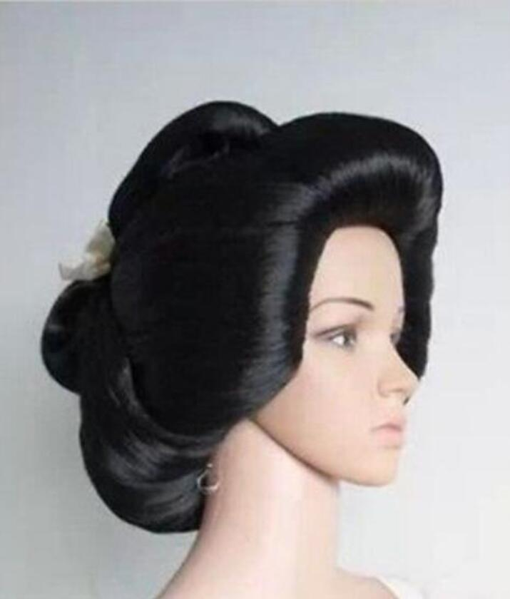 Jewelry Wig New !!! black Japanese Geisha Flaxen Hair Synthetic Daily Cosplay Wig