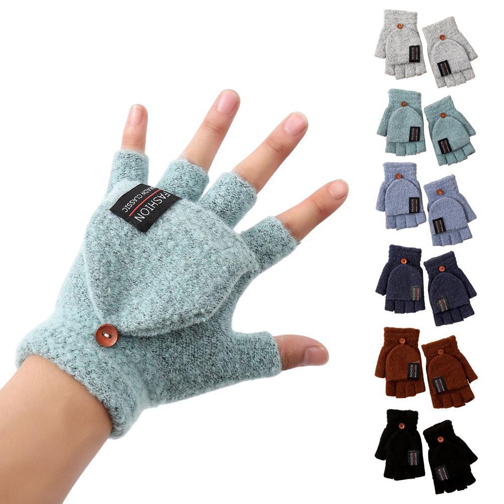 Зимние осенние детские перчатки, Детские Шерстяные варежки без пальцев, перчатки, мягкие вязаные варежки из хлопка для новорожденных, мальч...