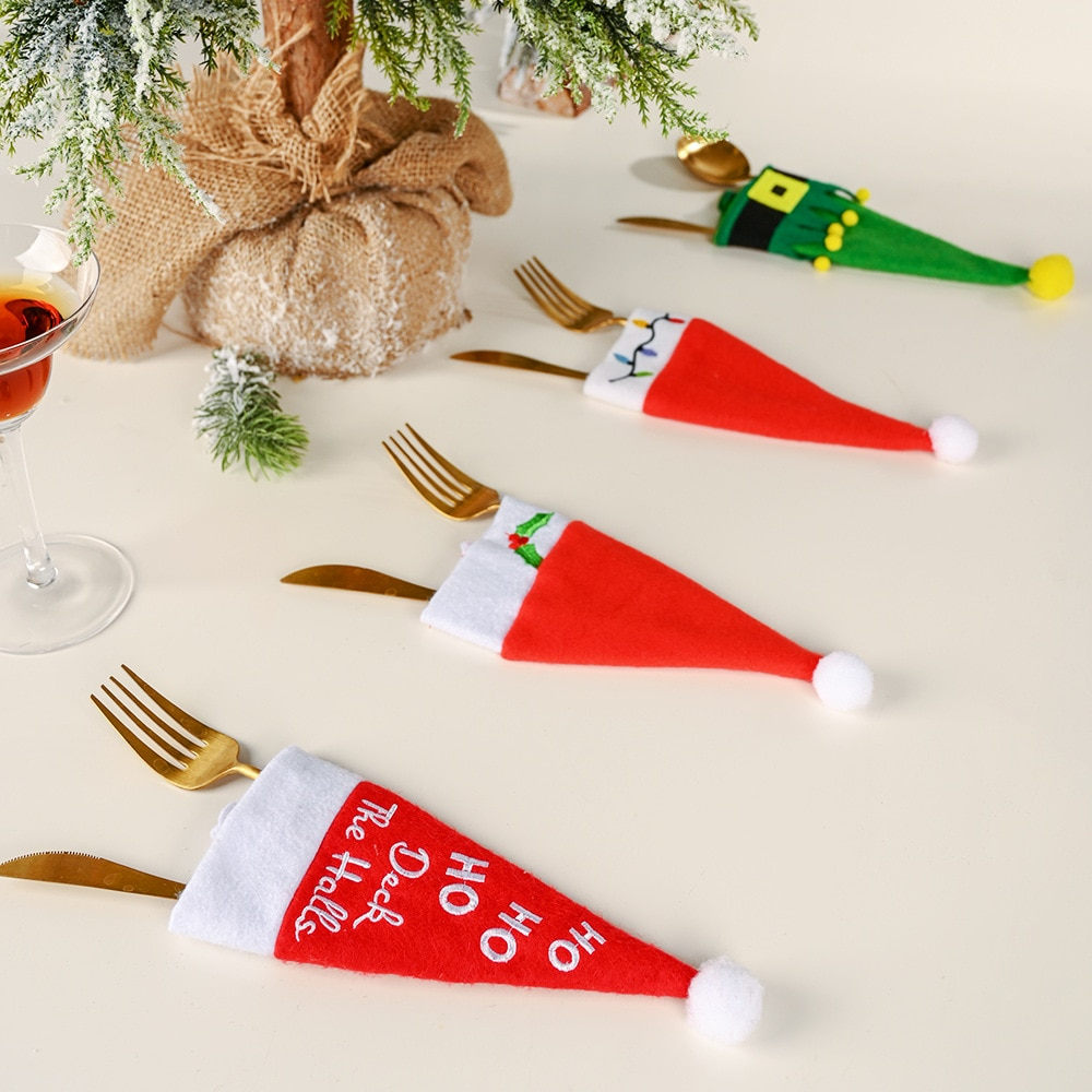 8 piezas sombrero de Navidad cubertería bolsa HOHO dulces bolsas de regalo lindo bolsillo tenedor caramelo soporte Mesa cena vajilla decorativa