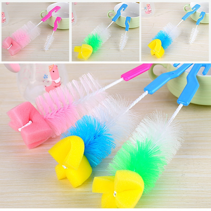 2Pcs 360°Sponge Cleaner Baby Nipple Bottle Brush Glass Feeding Sponge Pacifier Nylon Plastic