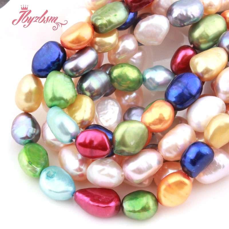 """Perlas de agua dulce de 8-9mm, cuentas de piedra Natural suelta Multicolor de patata para fabricación de joyería DIY, collar hebra para pulseras de 15"""""""