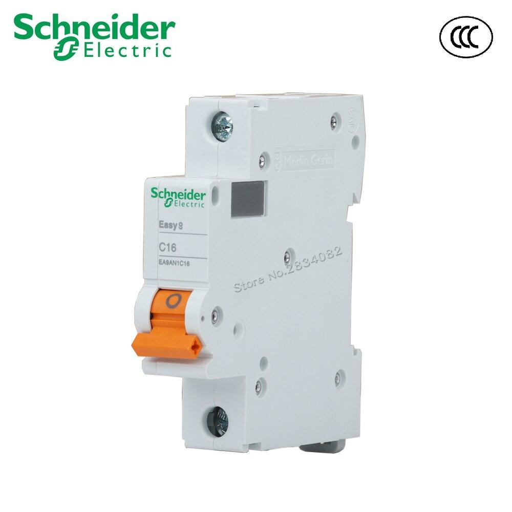 EA9AN tipo C C16 mini disyuntor interruptor de aire interruptor 1P 50Hz para carril Din de 35mm de derivación de Schneider