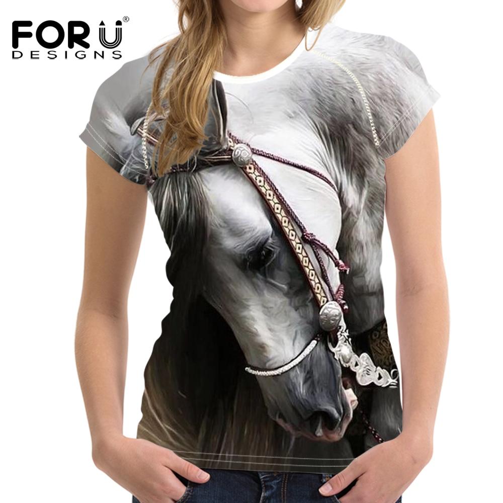 Forudesigns 3d louco cavalo imprimir t shirt feminino elástico macio camisa harajuku camisas femininas animal macio musculação lodo topos