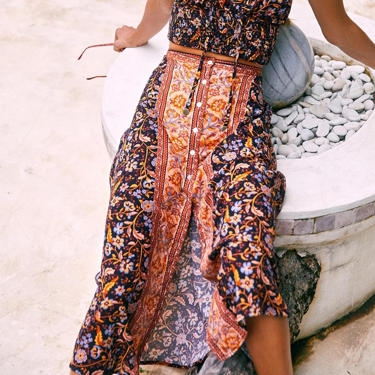 Daisy Chain Maxi Skirt Women Cotton High Waist Elastic Split Skirts Female Faldas 2020 Summer Boho Beach Vintage Long Skirt