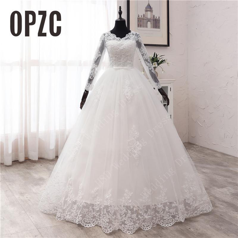 New Spring Lace Appliques Wedding Dresses Long Sleeve Vestidos De Novia 2021 White V-Neck Princess B